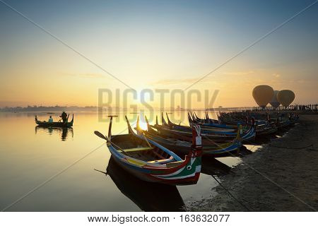 The local boat in taungthaman lake near U Bein bridge The longest teak bridge in the world Mandalay Myanmar