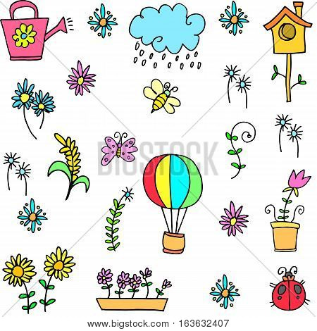 Illustration of spring set doodles collection stock