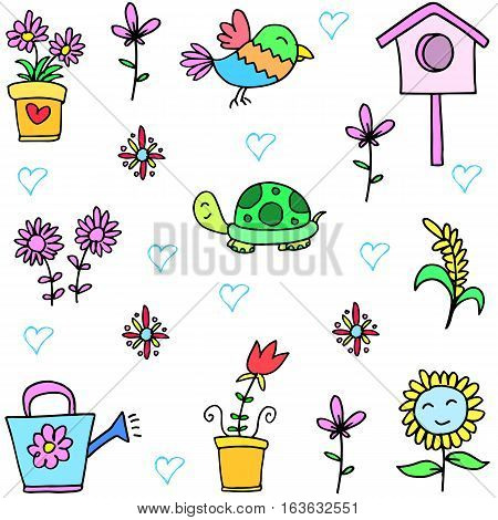 Collection stock of spring set doodles vector art