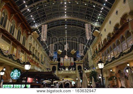 DUBAI, UAE - DEC 10: Christmas decor at Mercato Mall in Dubai, UAE, as seen on Dec 10, 2016. The mall is designed to look like a Mediterranean town during the European Renaissance.