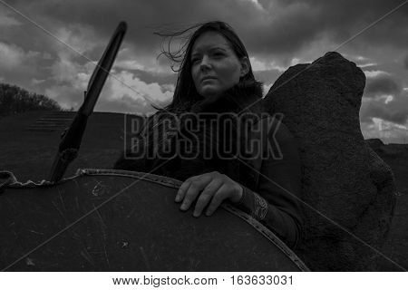 The female viking warrior. Shot in Denmark