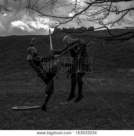 The fighting viking warriors. Shot in Denmark
