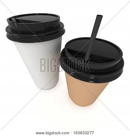Disposable coffee cups with paper straw . Blank paper mug with plastic cap. 3d render isolated on white background