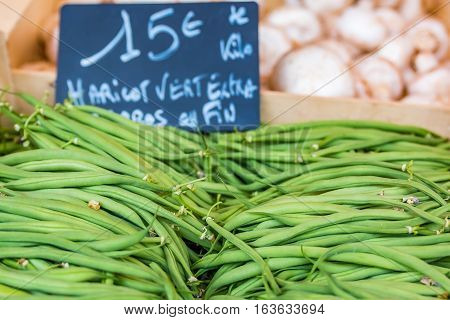 Fresh Green Beans At Local Farmers Market