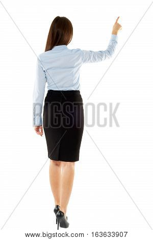 Businesswoman Touching A Button On Copyspace