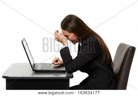 Amused Business Woman Laughing Reading On Laptop