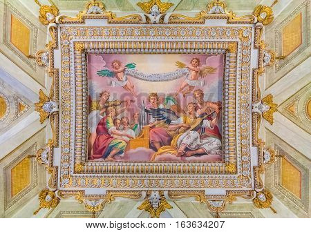 Rome Italy - October 11 2016: Detail of an antique baroque ceiling decorations of frescoes at the Basilica Papale di Santa Maria Maggiore