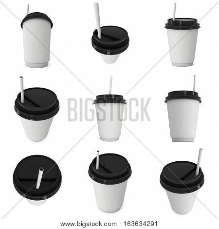 Disposable coffee cup with paper straw set. Blank paper mug with plastic cap. 3d render isolated on white background