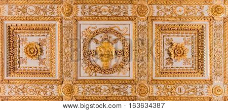Ornate Golden Ceiling Decorations In A Basilica In Rome
