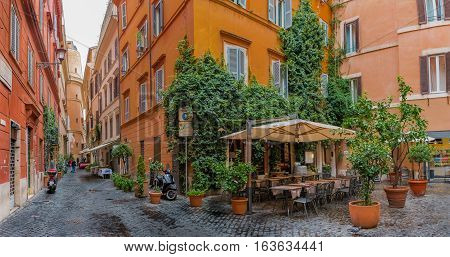 Narrow  Street In The Centro Storico In Rome Italy