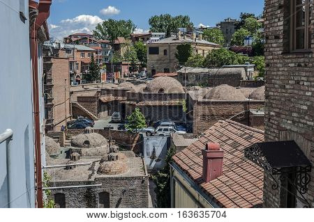 Georgia Tbilisi. District Abanotubani in Old Town . The complex of old and newly constructed sulfur baths .