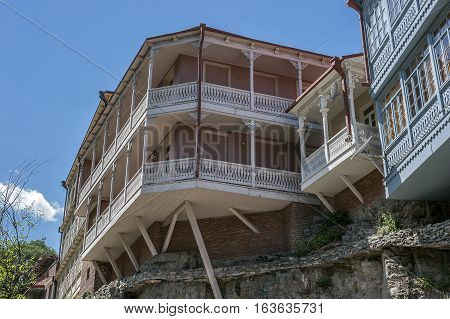 Tbilisi capital of Georgia . Famous throughout the world Tbilisi balconies in the Old Town .