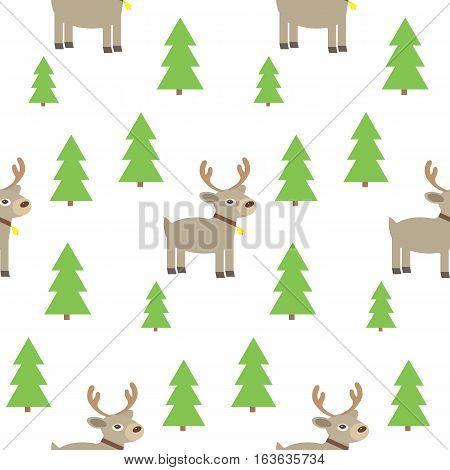 Vector flat illustaryion. Cute reindeer. Seamless pattern with cute reindeer and trees.