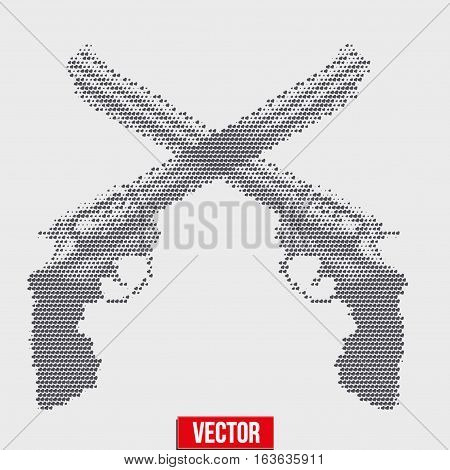 Cross of Revolvers in vintage halftone sketch style. Vector Illustration isolated on background.