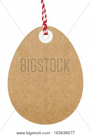Easter egg shape gift tag made from brown cardboard with string on an isolated white background