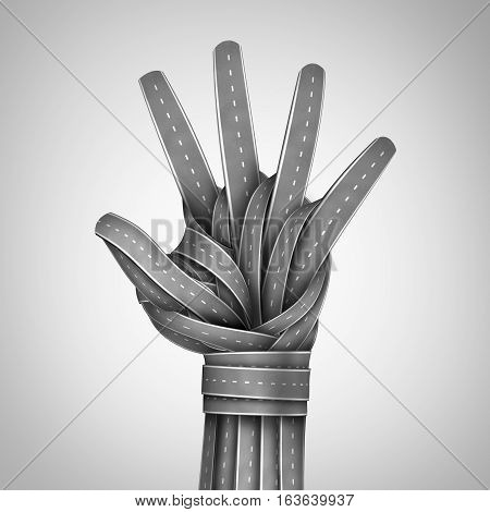 Road hand stop gesture as a symbol for prohibited access or banned travel or speeding while driving drunk warning metaphor with a group of highway or streets shaped as an open human hand as a 3D illustration.