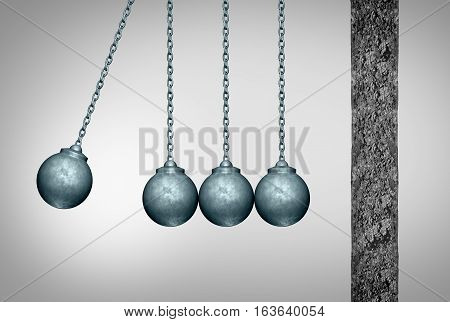 Momentum concept as a group of wrecking balls as a newton cradle pendulum symbol facing a cement wall as a business metaphor for applying a tream strategy to break an obstacle with 3D illustration elements.