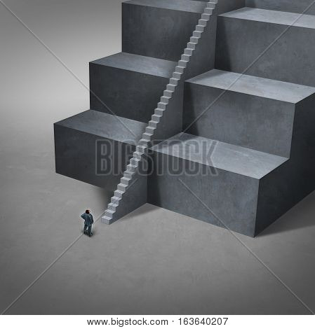 Career job opening and job access concept as big impossible to climb stairs with smaller easy stairs for a business person to reach opportunity with 3D illustration elements.