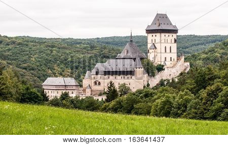 famous Karlstejn castle near Prague in Central Bohemia