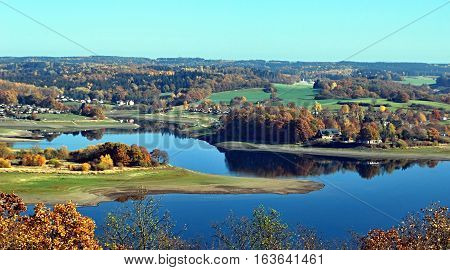 Talsperre Pohl water reservoir with nice autumn countryside around from Julius-Mosen-Turm view tower near Plauen city in Vogtland region in Saxony in Germany