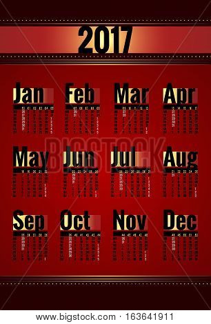 Calendar vector template for 2017 year. Week starts on Monday. Calender with week numbers. Year on one page, suitable for poster or pocket calendar. Red, gold and black color