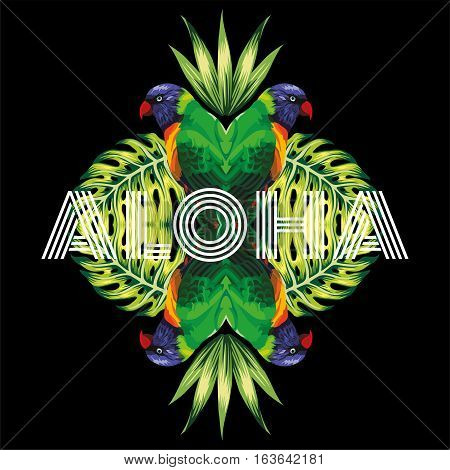 Slogan aloha tropical bird parrot plants in the trendy mirror style on black background vector pattern