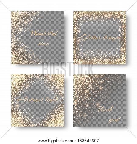 Set with golden lights on a transparent background.