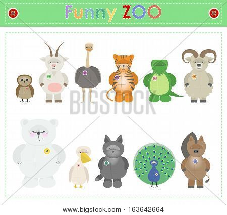 Animal Zoo part three. Funny small plush animals. cartoon Vector