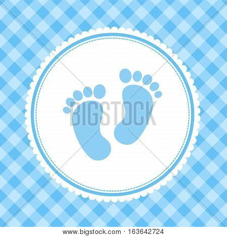 boy baby shower invitation card with kid footprints