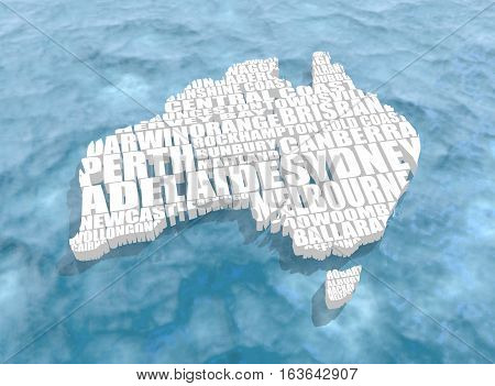 Map of Australia made from cities list. White map washed by blue ocean. 3D rendering