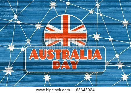 Australia flag design concept. Image relative to travel and politic themes. Australia day text. Wood texture. Connected lines with stars.