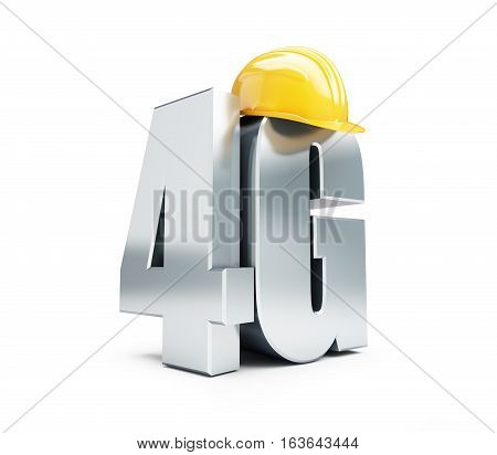 4G sign 4G construction helmet high speed data wireless connection. 3d Illustrations on white background