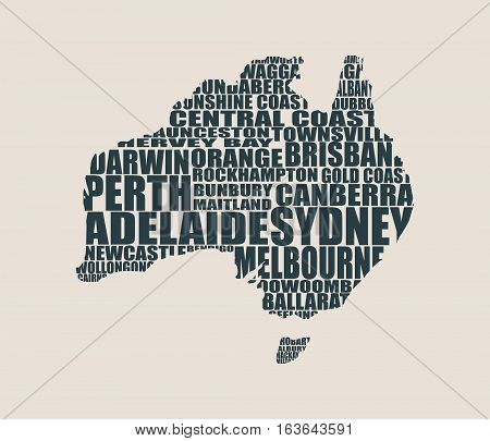 Map of Australia made from cities list. Vector illustration