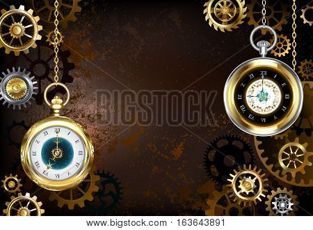 Brown rusty textured stimpankovsky background with brass and gold gears with antique gold watch. Steampunk style.