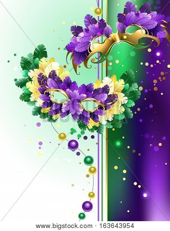Designed with colorful masks decorated with purple yellow green feathers on a light background. Festival Mardi Gras.