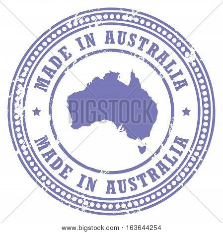 Grunge rubber stamp with the text Made in Australia written inside the stamp, vector illustration