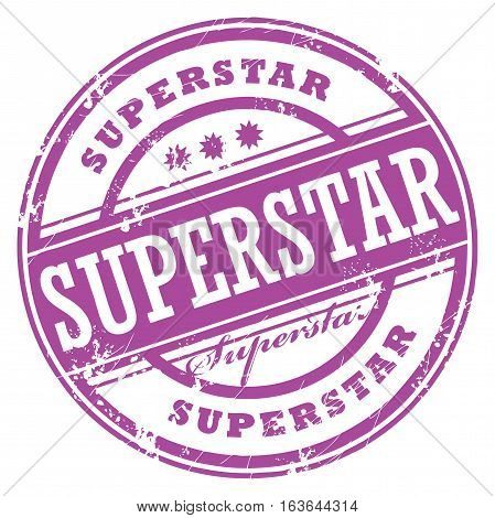 Abstract rubber grunge stamp with the word Superstar, vector illustration