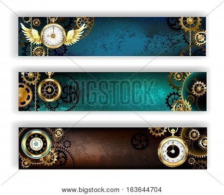 Three banner adorned with gold jewelry watches gold and bronze gears on a turquoise and brown background. Steampunk style.