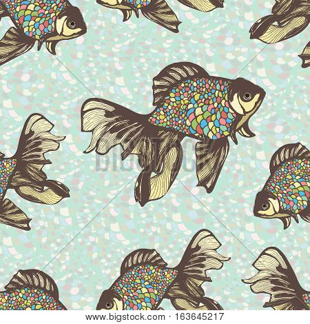Abstract fish hand drawing seamless pattern, vector background. Decorative fish with motley multicolor scales against the background of the colorful stones and multi-colored flakes. Handmade element