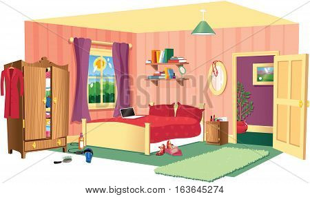 A cutaway illustration of a typical bedroom scene.