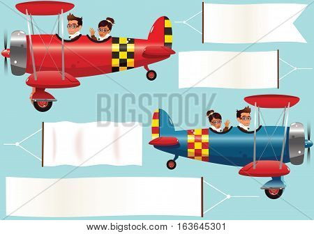 Two different old fashioned biplanes and some blank banners for your own messages.