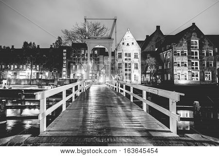 ZWOLLE NETHERLANDS - AUGUST 31 2016: White bridge Pelserbrugje over a canal in Zwolle Holland
