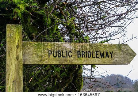 Finger post Public Bridleway in United Kingdom