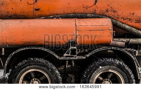 Truck, truck with tank, orange cistern, truck fragment, lorry, gasoline tanker