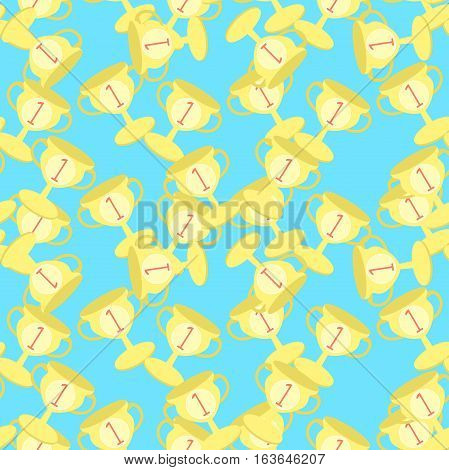 Seamless Pattern Sports Goblet Win First Place  Vector Illustration