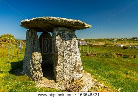 Probably a folly this apparent burial chamber is at Rhoscolyn Anglesey Wales United Kingdom Europe