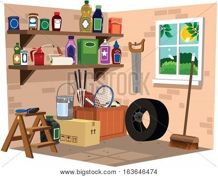 A cutaway illustration of the inside of a garage or lean-to building.