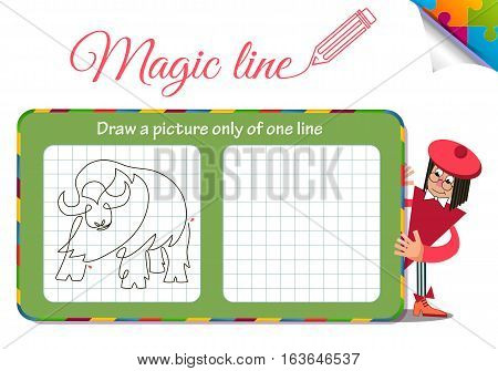 Visual Game for children. Coloring book education. Task: Draw a picture only of one line buffalo