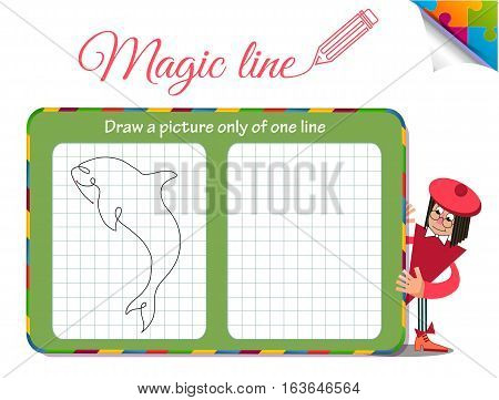 Visual Game for children. Coloring book education. Task: Draw a picture only of one line fish shark dilfin orca