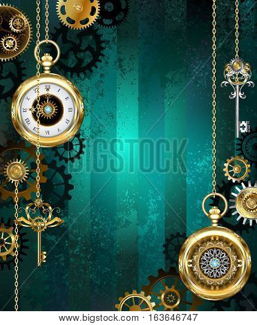 Jewelry gold watch with a gold chain and keys on a green textural background. Steampunk style.